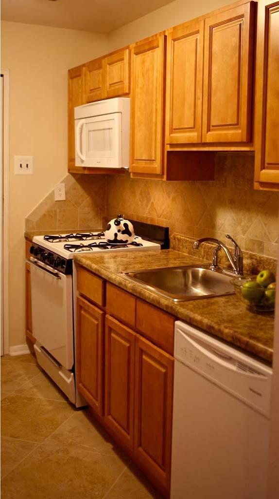 位于宾夕法尼亚州费城的约书亚之家(约书亚的房子)出租bbin中,带有棕色橱柜的厨房
