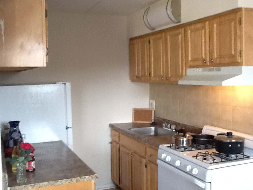 位于费城的奥尔尼广场bbin出租,厨房里有白色家电和棕色橱柜, PA