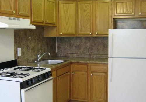 宾夕法尼亚州费城的Eola公园bbin出租,带有冰箱和棕色橱柜的厨房