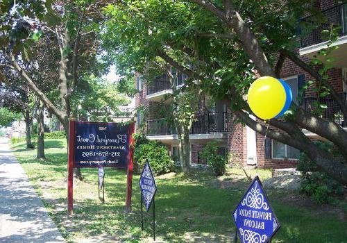 在费城的Haverford法院bbin出租的气球欢迎入口,宾夕法尼亚州