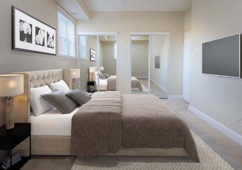 带家具的卧室和一台电视在帕克公园的大门塔在费城的bbin出租, PA