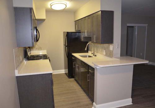 带冰箱的厨房, 水槽, 以及帕克公园的Gateway Towersbbin的壁炉