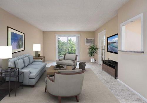 客厅里有沙发, 两把椅子, 还有一台电视在威斯敏斯特公园在沃灵顿租的bbin, PA
